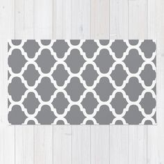 Moroccan Pattern Area Rug Grey and White Modern by AldariHome