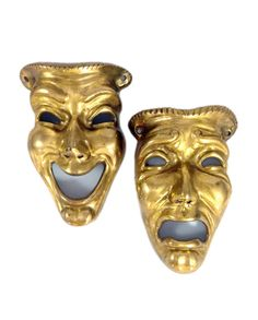Vintage Comedy & Tragedy Brass Mask  - Theater Decor - Preforming Arts - Vintage Theater  Hollywood Regency