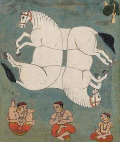 """""""A Tantric Painting of a Horse,"""" Islamic Paintings, Indian Paintings, Art Paintings, Abstract Paintings, Illustrations, Illustration Art, India Art, India India, Tibetan Art"""