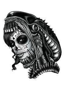 Sugar Skull / Alien tattoo design by Madedwi.