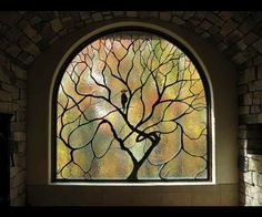 Contemporary Stained Glass Tree and Bird Art Nouveau ©Cain Art Glass 2016, All Rights Reserved