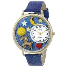 Whimsical Unisex #Capricorn Royal Blue Leather Watch. #zodiac #birthday