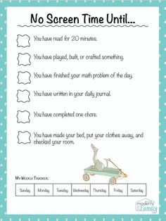 Family Chore Chart Printable Inspirational No Screen Time until Perfect for Kids Print This for Free Kids And Parenting, Parenting Hacks, Parenting Plan, Parenting Classes, Parenting Styles, Parenting Quotes, Teaching Kids, Kids Learning, Rules For Kids
