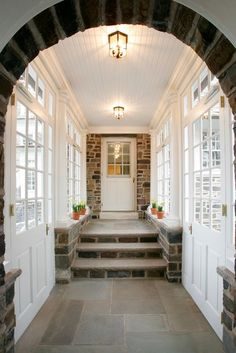 Enclosed breezeway from garage straight to the kitchen.