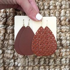 Tried Leather Earrings? Our classic Brown and our Brown Wovens are both great neutral, staples. Diy Leather Earrings, Diy Earrings, Leather Jewelry, Nickel And Suede, Diy Wallet, Cricut Craft, Craft Show Ideas, Leather Crafts, Craft Business