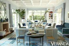 Blue and White Decorating Ideas with Hollywood Regency Furnishings - Designer: Windsor Smith - Veranda via Laurel Bern Interiors