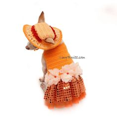 Bling - Bling Orange Dog Dress Crochet Summer Hat, Unique Chihuahua Clothes, Puppy Clothes Fancy DF101 by Myknitt - Free Shipping by myknitt on Etsy