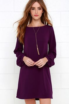 Perfect Situation Purple Long Sleeve Shift Dress