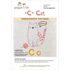 Cat Penguin and Fish Embroidery Patterns by GabbysQuiltsNSupply