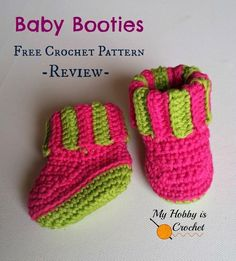 Baby Booties with Ribbed Cuff - a Free Crochet Pattern Review |My Hobby is Crochet