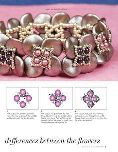 Bead & Jewelry Issue 70 Spring 2016 (p 9) Band of Clover Bracelet Designer: Justine Gage Materials: ripple beads, 12 x 3 mm, 8 x 3 mm, 15/o, 11/o