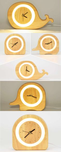 Wooden Desk Alarm Clock with Nightlight and USB Power Supply Art Deco style Handmade Wooden Round Desk wall clock Made from Wooden and Metal