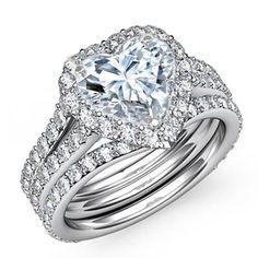 Engagement Ring - Heart Shape Halo Pave Bridal Set in 14K White Gold - ES1094HSBS by Heidi-Vogel