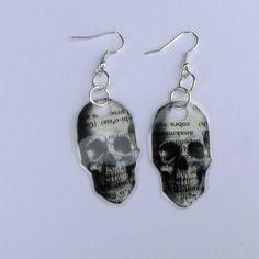 Skull Earrings, Human Skull Earrings, Skeleton Earrings, Halloween Earrings, Halloween Jewelry, Head Earrings, Free Shipping by DivinitysDivineTouch on Etsy
