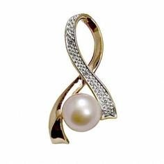 14K rose gold pink freshwater cultured pearl and diamond Breast Cancer awarness pin/pendant from Goldsmith Jewelers.