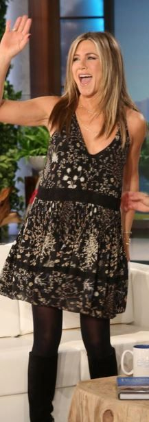 Who made  Jennifer Aniston's black floral print dress?