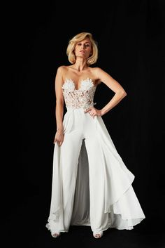 21bfa336d384 Emanuel Hendrik Mix   Match Bridal Jumpsuit with overskirt.
