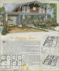 """The two-story Shadow Lawn is a handsome plan based on a popular variant of the Craftsman-style bungalow usually described as the """"Swiss Chalet."""" This interpretation is pleasant with the porte-cochere, shingle and lapped siding, and handsome knee braces."""