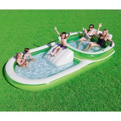Bestway Two-In-One Wide Inflatable Family Outdoor Pool, Features Dual Pool and Slide Combo, Cup Holders, Easy Set Up, Includes Repair Patch Children Swimming Pool, Kid Pool, Swimming Pools, Piscina Intex, Easy Set Pools, Adult Pool, Family Pool, Family Kids, Summer