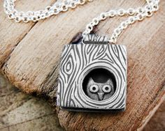 Silver Owl tree necklace