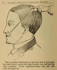 Phrenology Diagrams from Vaught's Practical Character Reader (1902) - See more at: http://publicdomainreview.org/2013/03/19/phrenology-diagrams-from-vaughts-practical-character-reader-1902/#sthash.TIJjlf0o.dpuf  Who knew a head had a sneer button?