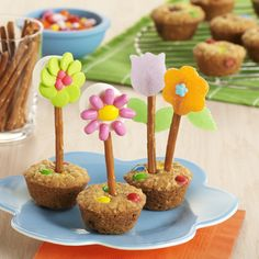 'Flower Pot' Oatmeal Cookies: Oatmeal cookie recipe baked into 'flower pots', perfect for kid entertaining