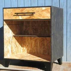 One Drawer Bedside Table Black Stained Osb custom made by Modular Osb