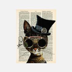 collageOrama Highly Literate Animal Prints Artist Matt Dinniman is behind this collection of hand designed prints made on upcycled vintage dictionary paper. Cute Cat Illustration, Cat Illustrations, Mustache Cat, Atomic Kitten, Steampunk Cat, Cute Fonts, Print Artist, Cool Cats, Cat Art