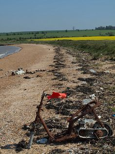 Bike on the beach at Allhallows Kent