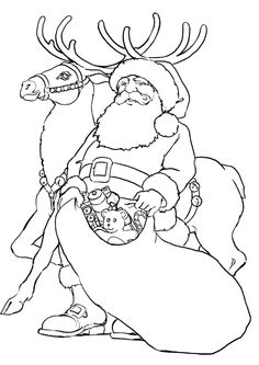 Santa Claus And His Reindeer Coloring Pages