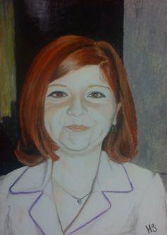 """mi tía, la mujer de pelo rojo"" (lapiz pastel), by MZ."