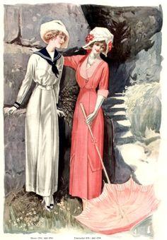 1914 fashion plate with two beautiful dresses. #nautical #Edwardian #vintage