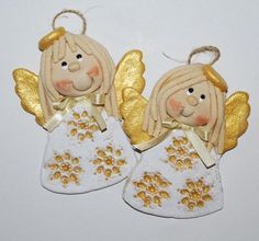 Z płatkiem sniegu... anioły Christmas Clay, Christmas Snacks, Christmas Ornaments To Make, Christmas Angels, Christmas Crafts, Yule Crafts, Clay Crafts, Clay Projects, Crochet Projects