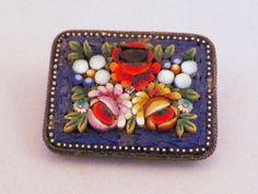 Antique Dimensional Italian Micro Mosaic Pin