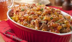 If your family can't decide between Italian or Mexican food, then we've got the perfect solution, Tex Mex Ziti! This beefy and cheesy casserole combines the best of two cultures in just one dish. Not only will your whole gang be pleased, but you will Baked Pasta Recipes, Pork Recipes, Mexican Food Recipes, Cooking Recipes, Mexican Dishes, Yummy Recipes, Mexican Pasta, Mexican Cheese, Hamburger Recipes