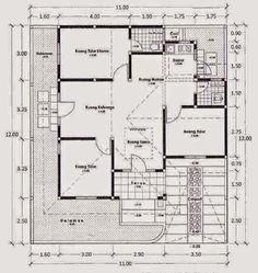 denah rumah sederhana 1 lantai 3 kamar tidur
