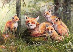 Fox painting by Neprijatel Julia Wildlife Paintings, Wildlife Art, Animal Paintings, Animal Drawings, Art Fox, Baby Animals, Cute Animals, Fox Collection, Fox Drawing