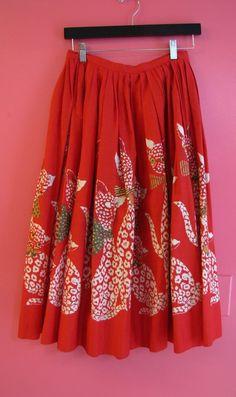 Vintage 1950s Rare Novelty Print Red Kitty Cats Rhinestone Pleated Circle Skirt  #Handmade