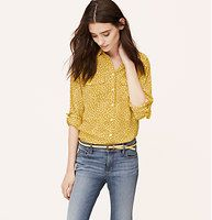 Floral Bud Utility Blouse - Flecked in floral buds, roll tab sleeves give this refined essential its modern attitude. Collared. Long sleeves. Button front. Flap patch pockets. Button-through roll tabs at sleeves. Button cuffs. Shirttail hem. Gathered beneath back yoke.