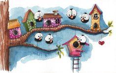 Original watercolor painting whimsical bird crow house tree branch new neighbor #IllustrationArt