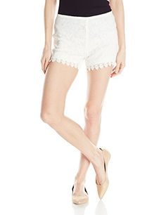 Jack Women's Hartley Lace and Grosgrain Waistband Short, Ivory, 6 * Click image to review more details.