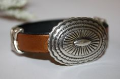 Western Concho Bracelet Copper Leather by HoneysuckleJewelscom