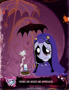 Misery, from Ruby Gloom. My favourite little gothic character! So positively pessimistic :)