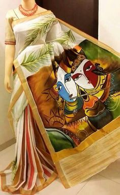 Kerala cotton sarees with hand painting Phulkari Saree, Sambalpuri Saree, Set Saree, Saree Painting Designs, Fabric Paint Designs, Kerala Saree, Indian Silk Sarees, Dress Painting, Fabric Painting