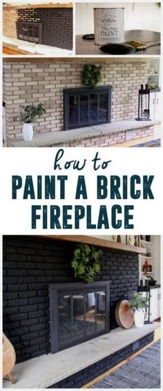 How to Paint a Brick Fireplace www.BrightGreenDoor.com