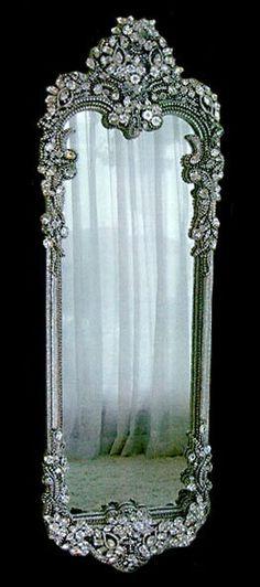 #Swarovski crystal jewel encrusted silver floor #mirror home #décor