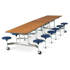 Ideal for the school cafeteria but not limited by any means, the Virco Mobile Stool Table combines flexibility and versatile comfort for maximizing your seating capacity and available floor space. This table is intended for the lower grades (K Balcony Table And Chairs, Table Desk, Cafeteria Table, Mobile Table, Traditional Benches, Used Office Furniture, School Furniture, Outdoor Furniture Chairs, High Stool