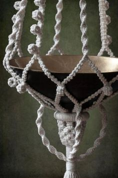 cotton macrame plant hanger GOTHIC by EveLinesMacrame on Etsy