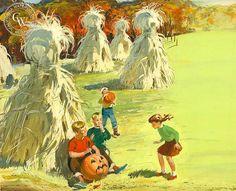 Cornstalks and Pumpkins, 1952 Gouache Painting, Watercolor Paintings, Watercolour, Art Prints For Sale, Fine Art Prints, Arches Watercolor Paper, Disney Artists, Halloween Art, Happy Halloween