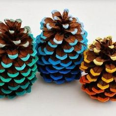 painted pine cones. These would work nicely in your room colors to decorate a bowl on a coffee table.
